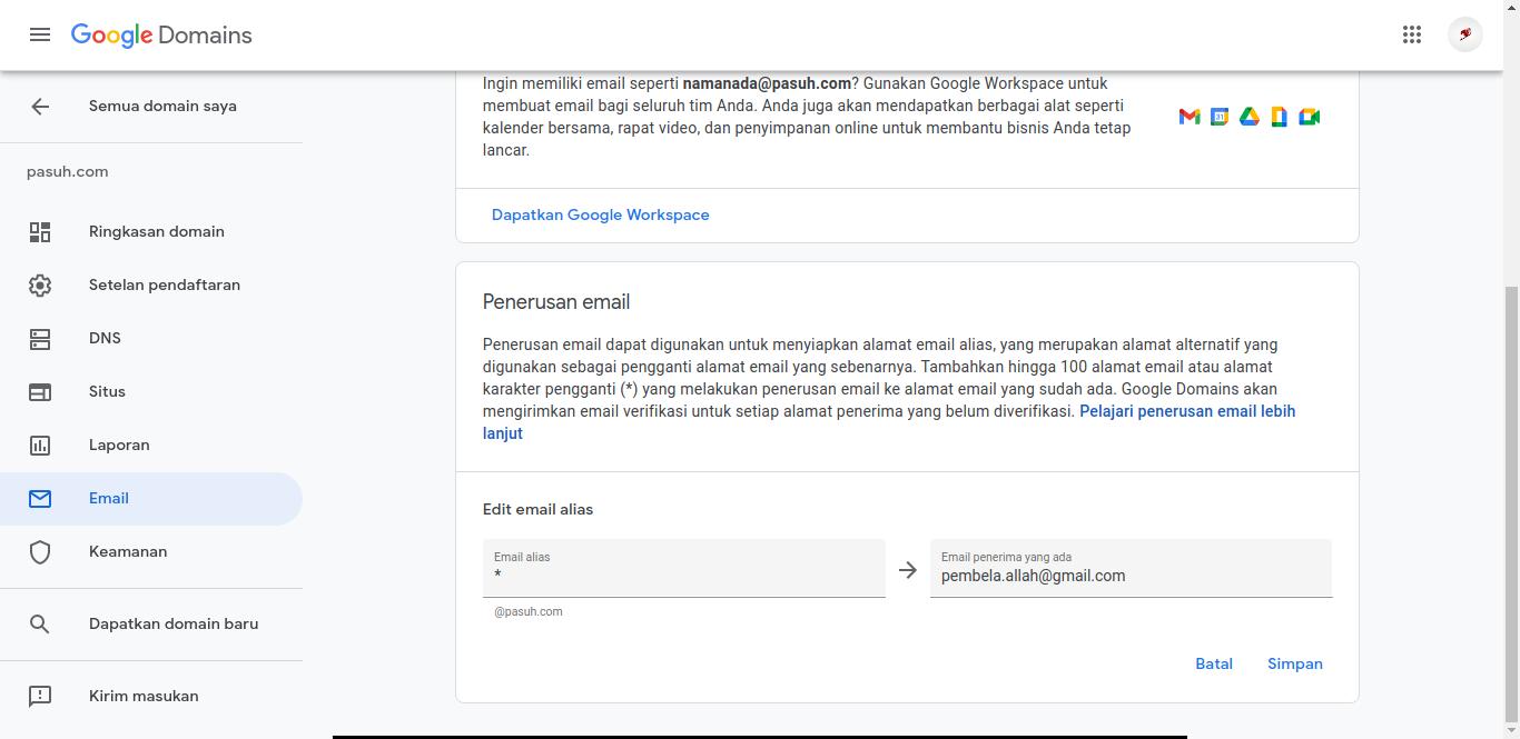 penerusan email pada google domain